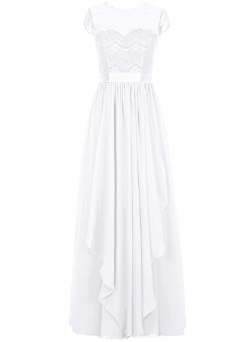 Evening Cdress Sleeves White Lace Maxi Bridesmaid Party Prom Long Cap Chiffon Dresses Gowns q8fZwpq