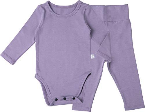 (AVAUMA Baby Boys Girls Solid Modal Bodysuits Set Kids Pajamas Long Sleeve Cotton (E-Light Purple Small/3-6Months))