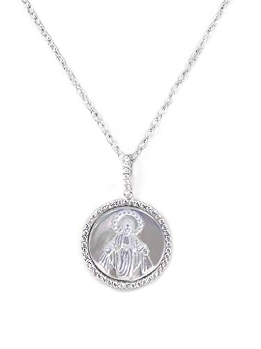 Miraculous Medal Pendant Jewelry Round in Mother of Pearl & Zirconia for Womens with Silver Chain 18