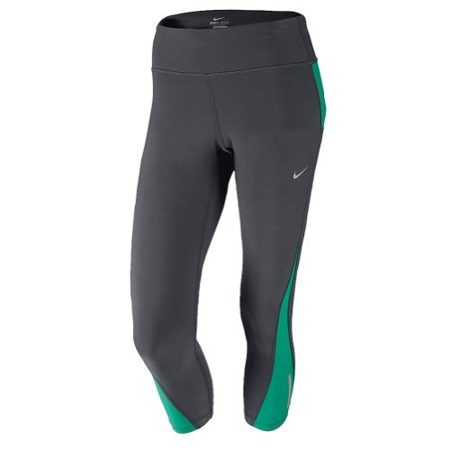 New Nike Women's Racer Crop Tights Anthracite/Emerald Green/Reflective Silver Medium
