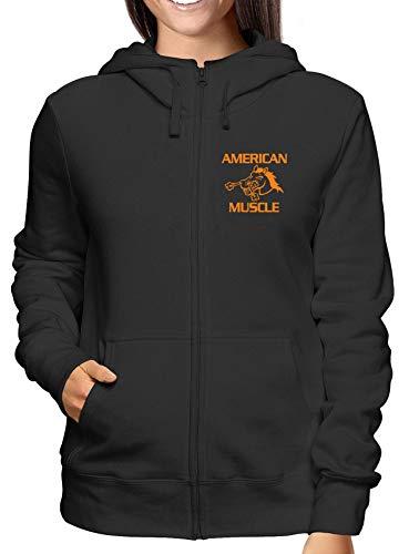 E 5502 Felpa T Fun0567 Cappuccio Zip Muscle shirtshock Donna American Nero wOvt6