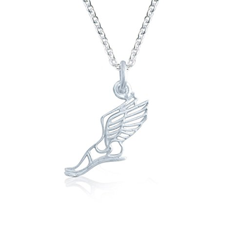 Gone For a Run Livia Collection Sterling Silver Winged Foot Necklace (Winged Foot)