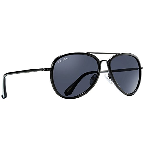 UV-BANS Unisex Aviator Sunglasses Polarized UV400 Lens,Ultralight Unbreakable Frame (Matte Black - Sunglasses Aviator Unbreakable