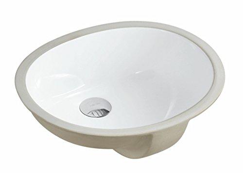 ARIEL UV1714P 17-1/2 Inch White Porcelain Ceramic Round Shape Bathroom Vanity Undermount Sink by ARIEL