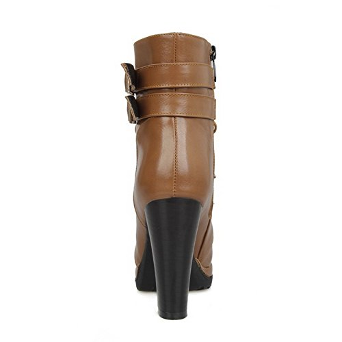 AgooLar Women's Soft Material Round Closed Toe High-Heels Buckle Solid Boots Brown udZKz