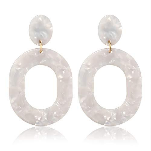 YAHPERN Acrylic Earrings for Women Girls Statement Geometric Earrings Resin Acetate Drop Dangle Earrings Mottled Hoop Earrings Fashion Jewelry (White-Oval ()