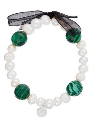 Alexandra plata-Bracelet élastique de perles et malachite avec ruban et charm Logo Alexandra Plata en argent de la loi 0925