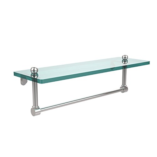Allied Brass PR-1/16TB-PC 16 Inch Glass Vanity Shelf with Integrated Towel Bar, Polished Chrome