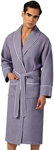 Ultra Soft Spa Sleepwear Bathrobe Men/'s Waffle Robe with Piping Lightweight Cotton Waffle Weave Robe Full Length Robe