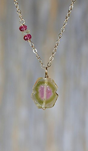 Watermelon Stone Necklace (Watermelon Tourmaline Gemstone Pendant Necklace 14K Gold Filled- 17