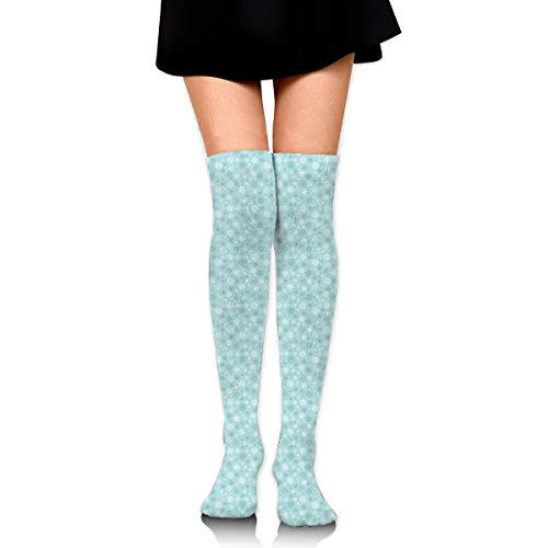 Hi-res-snowflakes-pattern Leisure Crew Top Socks,Tube Thigh-High Nursing Compression Long Socks,3D Printed Sports For Girls&Women