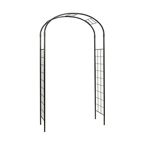 (Achla Designs ARB-10 Monet Wrought Iron Arbor Metal Garden Arch, Graphite)