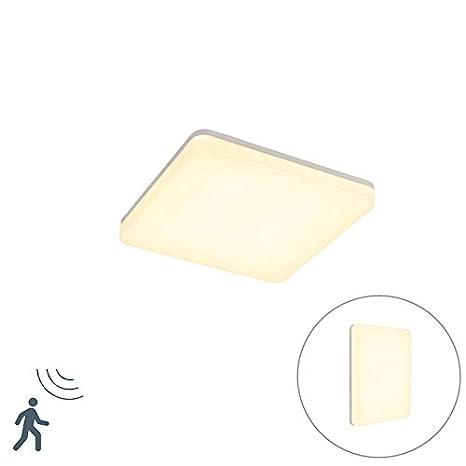 QAZQA Moderno Plafón moderno cuadrado blanco LED sensor de movimiento - PLATER Plástico Cuadrada Incluye LED