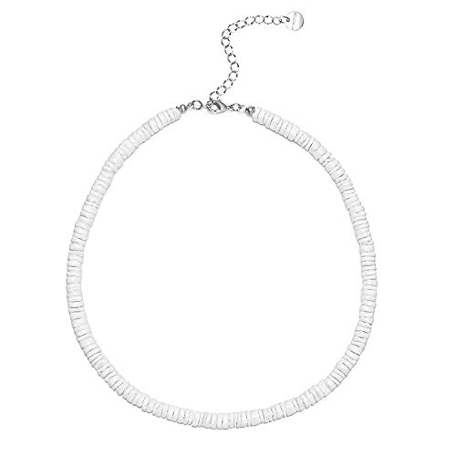 wowshow Puka Chip Shell Necklace Choker Smooth White Clam Chip Choker