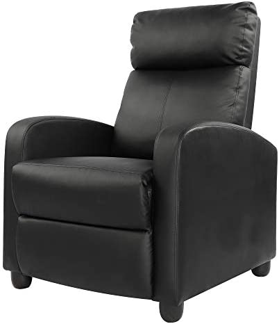 Recliner Chair Modern PU Leather Living Room Single Chairs Sofa Seat Black