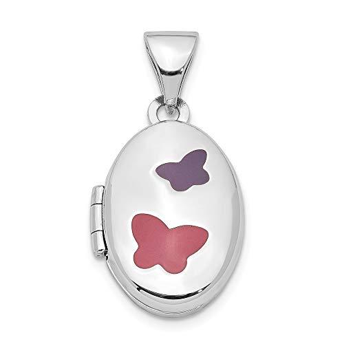 925 Sterling Silver with Pink & Purple Enamel Butterflies 16mm Locket Pendant - Enamel Sterling Pendant Butterfly Silver