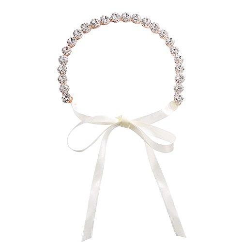Crystal Rhinestone Wedding Bridal Rose Gold Headband Hair Hairpiece with Ivory Ribbon
