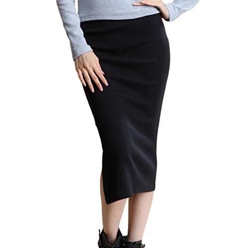 Xinwcanga avec Fente Jupe lasticit Haute Taille Noir Femmes Classique Droite Bodycon Crayon zXrzwvqA