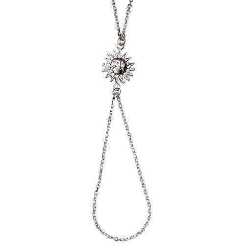 Bracelet Bague en Argent 925/000 Pendentif Soleil - Bijoux de Main Femme