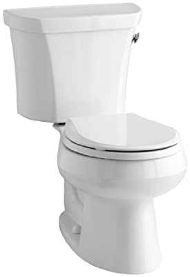 Kohler K-3977-RA-0 Wellworth Round-Front 1.6 gpf Toilet, Right-Hand Trip Lever, White