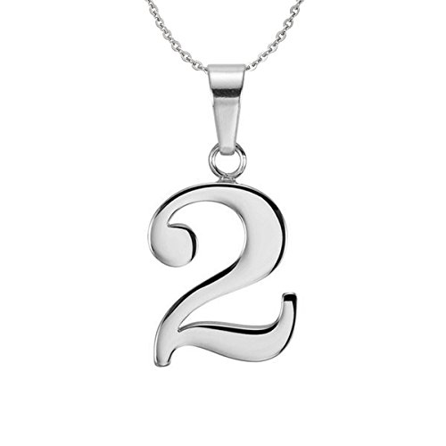 Ouslier 925 Sterling Silver Number Charm Necklace Pendant Jewelry 18