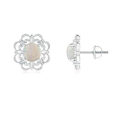 Angara 5mm Opal Diamond Flower Earrings in Platinum ejFEKQjqo7