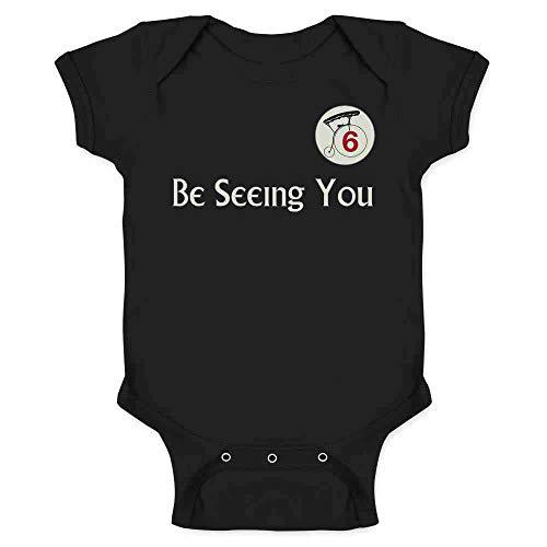Be Seeing You Number 6 Cult Black 6M Infant Bodysuit -