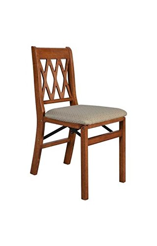- Lattice Back Folding Chair in Cherry Finish - Set of 2