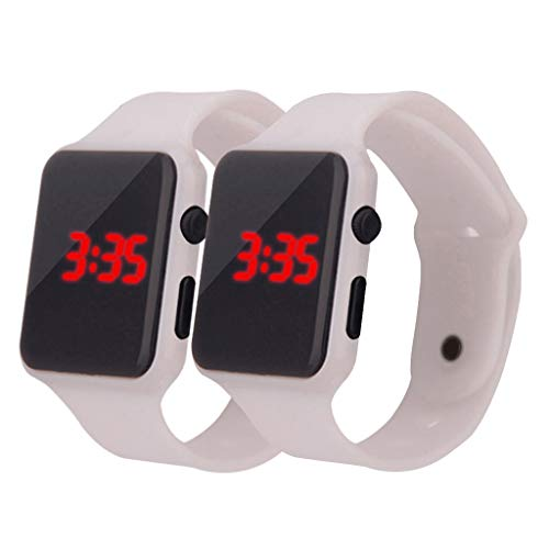 Simple Digital LED Electronic Watch Silicone Strap Men and Women Watch Under 10