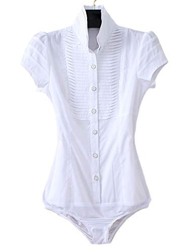 Soojun Women Short Sleeve Button Down Career Shirt Bodysuit Blouse, (US 4, 3-White)