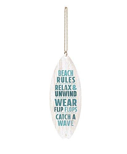 GRAHAM DUNN Beach Rules Relax Unwind Whitewash Surfboard 1.5 x 4.5 Wood Hanging Car Charm P Graham Dunn P