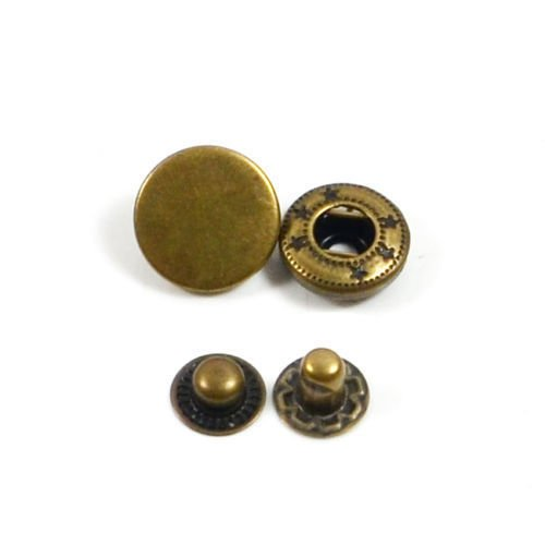 30 Sets Heavy Duty Poppers Snap Fasteners Press Stud Rivet Sewing Leather Craft Clothing (15mm, Antique Brass) (Antique Brass Snaps)
