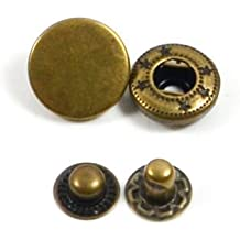 30 Sets Heavy Duty Poppers Snap Fasteners Press Stud Rivet Sewing Leather Craft Clothing (15mm, Antique Brass)