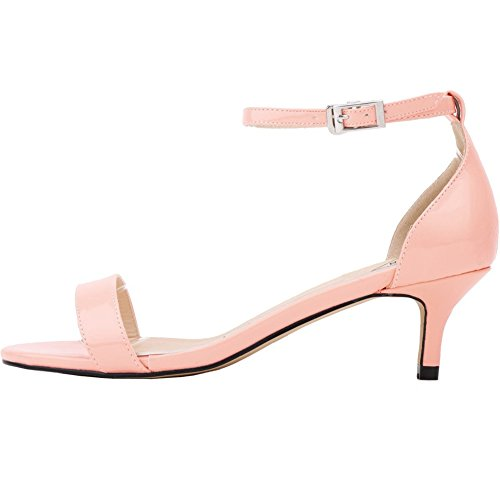 EKS Sommer Schuhe Frau Dünne Fersen Mode Damen Schuhe Sandalen Knöchelriemen Metallschnalle Rosa Patent