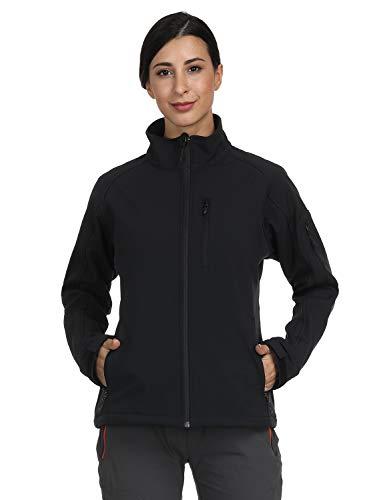MIER Women's Windproof Softshell Jacket Front Zip Tactical Jacket with Fleece Lined, Water Resistant, YKK Zipper, Black, ()
