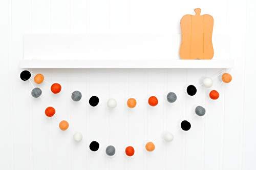 Orange Gray Black White Felt Ball Garland, Pom Pom Banner, Halloween Decoration, Fall Decor (Halloween Decor Home Goods)