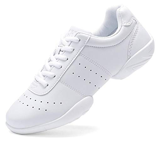 DADAWEN Adult & Youth White Cheerleading Shoes Sport Training Tennis Sneakers Competition Cheer Shoes