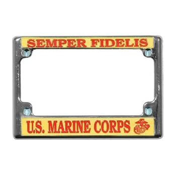 U.S MILITARY MARINE CORPS SEMPER FIDELIS METAL LICENSE PLATE FRAME USA MADE
