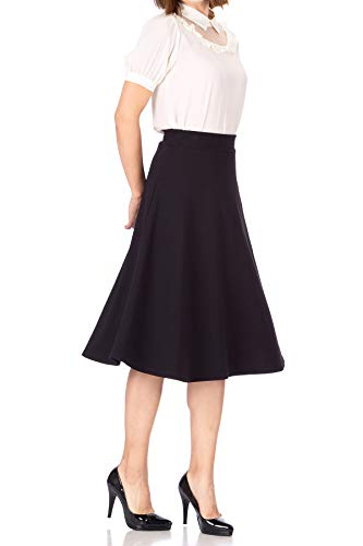 Everyday High Waist A-line Flared Skater Midi Skirt (M, Black)