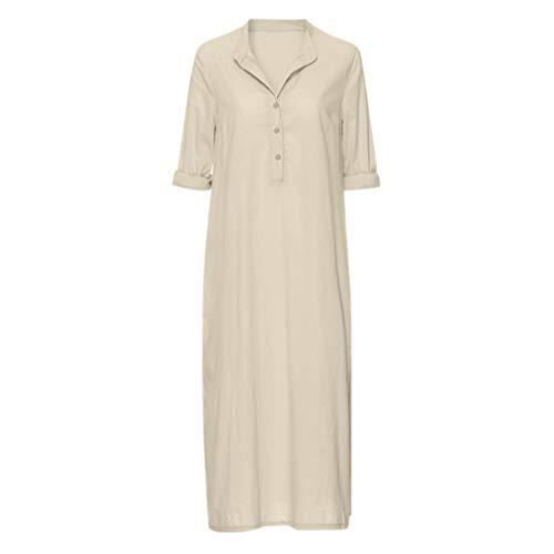 Kulywon Women Kaftan Cotton Long Sleeve Plain Casaul Oversize Maxi Shirt Dress Plus Khaki ()