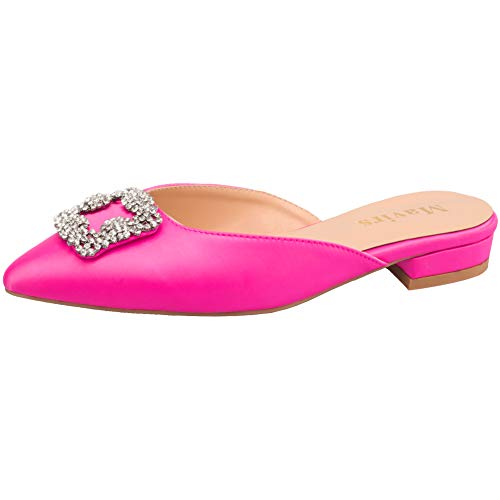 Satin Rhinestone Buckle - MAVIRS Mules for Women, Women Satin Flat Slides Sandals with Rhinestone Embellishment, Pointed Toe Jeweled Buckle Slippers Rose Red Size 10