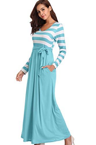 Light Neck Sleeve Maxi Womens Blue Tie Loose Dress with Pockets Long kyrakiss Casual Striped Waist Summer Round v1ZwvqBf