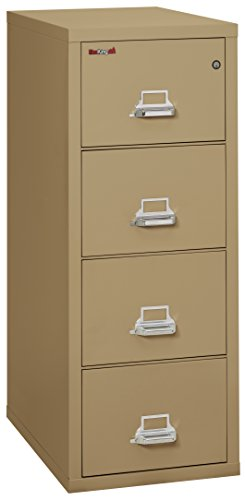 Fireking Fireproof Vertical File Cabinet (4 Legal Sized Drawers, Impact Resistant, Waterproof), 52 .75' H x 20.81' W x 31.56' D, Sand
