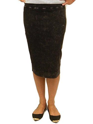 Hardtail Short Cotton Pencil Skirt (S, Black Denim)