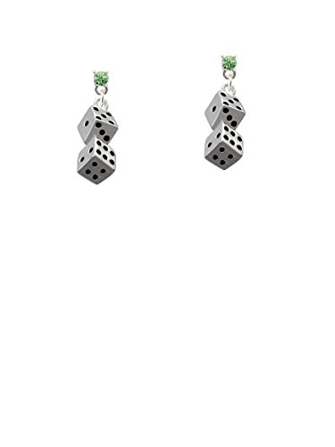 Pair of Dice Lime Green Crystal Post Earrings