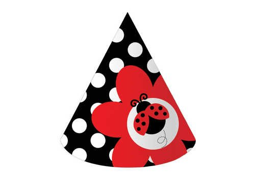 Ladybug Fancy Cone Hats - Creative Converting Ladybug Fancy Birthday Party