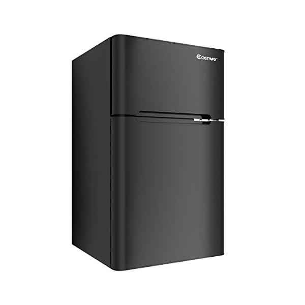 COSTWAY Compact Refrigerator 3.2 cu ft. Unit Small Freezer Cooler Fridge