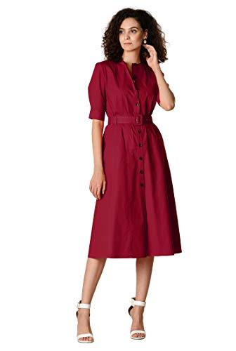 eShakti Women's Stretch poplin Belted Shift Shirtdress L-12 Short Lakehouse ()