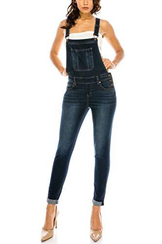 Vialumi Women's Regular Size Fitted Denim Overalls with Buckled Straps Dark S ()