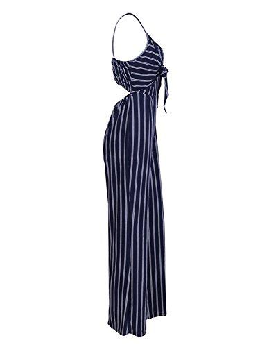 f7f329d6f5e Glamaker Women s Casual Strap Striped Long Pants Jumpsuit Romper Sleeveless
